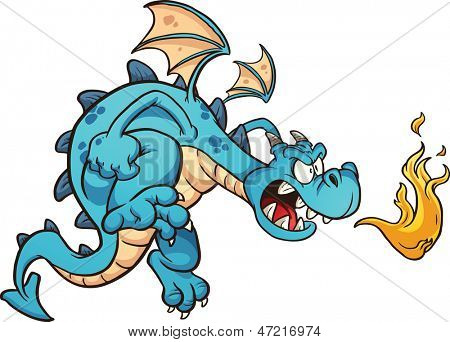 Fire breathing cartoon blue dragon. Vector clip art illustration with simple gradients. All in a single layer.