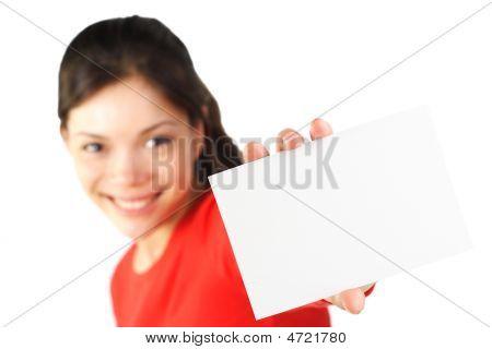 Beautiful Woman Holding Blank Card