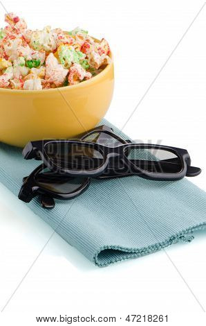 Bowl Of Popcorn And 3D Movie Glasses