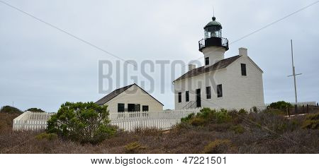 Old Point Loma Lighthouse in Cabrillo National Monument in San Diego, California