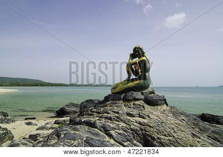 SONGKHLA, THAILAND - JUNE 22: Mermaid statue In Songkhla, Thailand