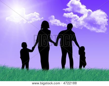 Happy Family At Spring