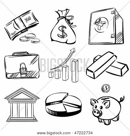 Banca icons set vector illustration