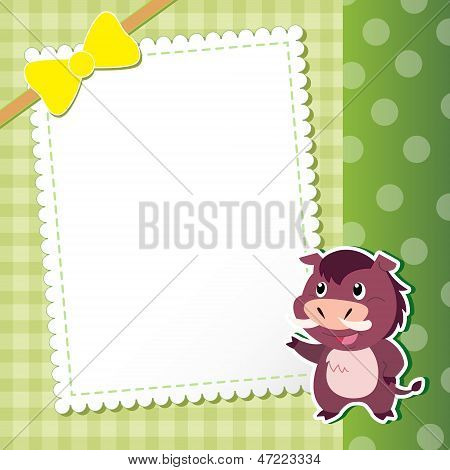 Wild Boar. Baby Card.