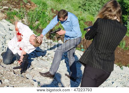 Two Fbi Agents Arresting An Offender With Knife
