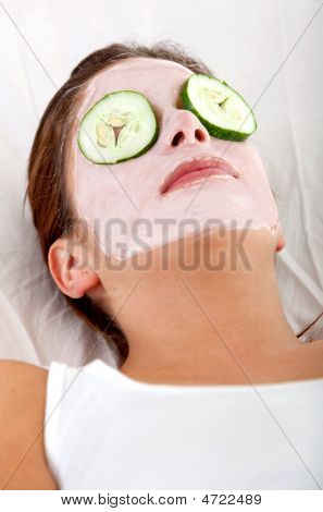 Woman Enjoying A Facial