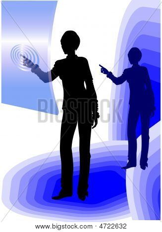 Business Woman Using Touch Screen