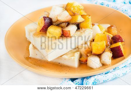 Cottage cheese baked pudding with fruits salad
