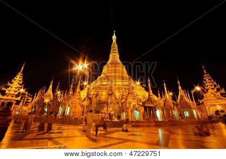 Night Of Shwedagon Paya In Yangon, Burma