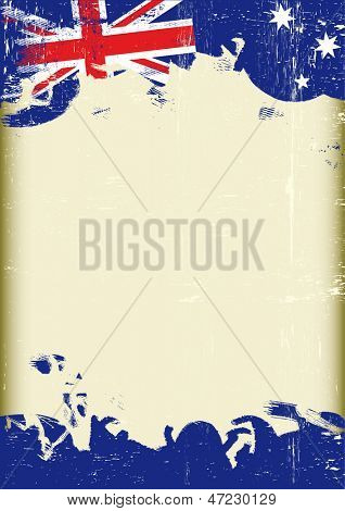 Grunge Australian flag. A poster with a large scratched frame and a grunge australian flag for your publicity.