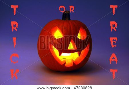 Trick or Treat Halloween pumpkin.