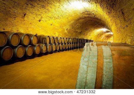 Antique Wine Cellar With Wooden Barrels
