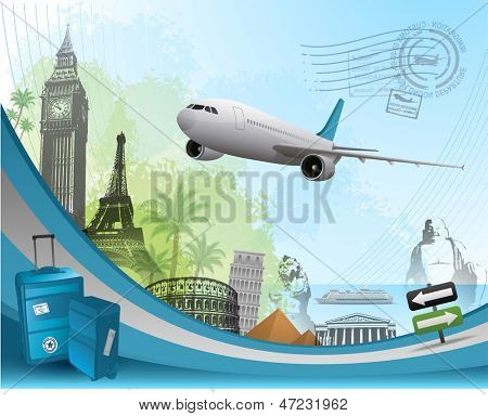Travel background design with famous landmarks elements
