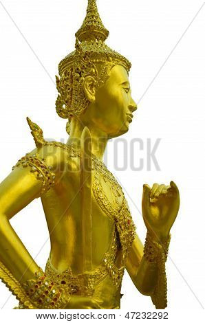 The Golden Graven Image  On Holding A Sword, The Golden Graven Image On White Background