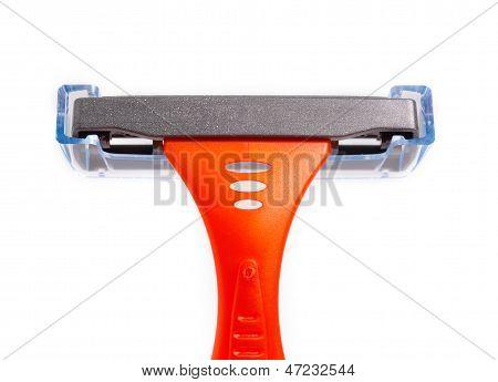 Orange Diposable Shaver On White