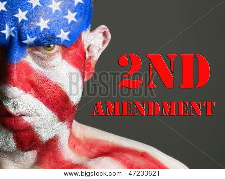 Man Face Flag Usa, 2Nd Amendment, Serious Expression.