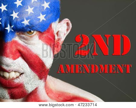 Man Face Flag Usa, 2Nd Amendment, Aggressive