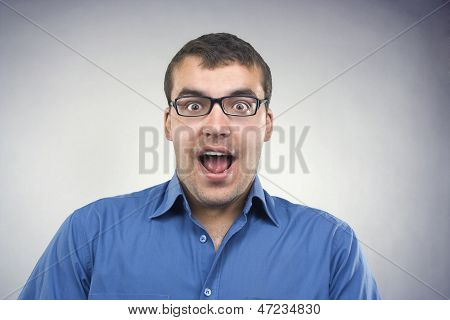 Surprised Young Man Close-up