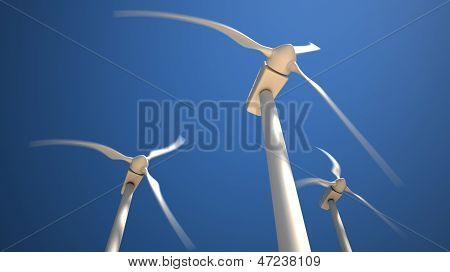 Wind Turbines With Rotating Blades
