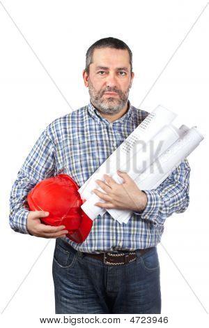 Trabalhador da construção civil Holding Blueprints