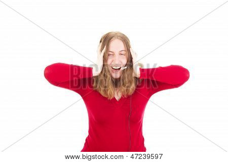 Happy Young Woman Listening To Loud Music