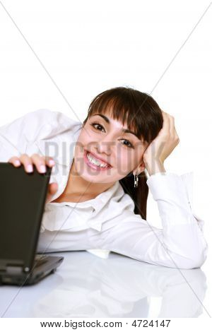 Happy Businesslady With A Laptop