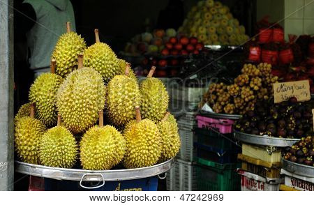 durian at the market, Southern Vietnam