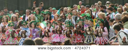 Children From Irish Dance School On Saint Patrick's Day Parade