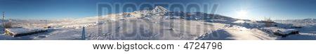 Circular 360-degree Panorama Of Mount Ararat In Winter