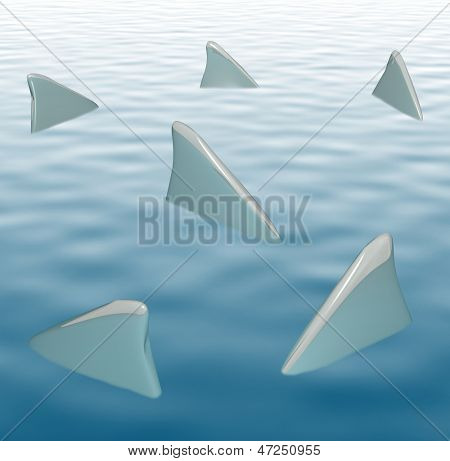 Several shark fins circling as they hunt their prey in ocean water to illustrate dangerous seas