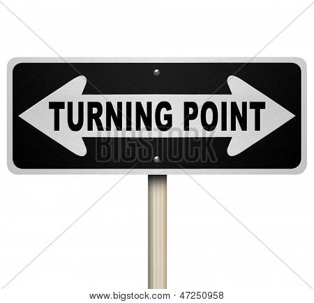 A road sign with the words Turning Point and arrows pointing left and right representing an important moment for you to make a major decision that will have big impact on your life or career
