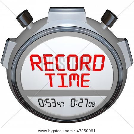 A stopwatch timer shows the words Record Time to illustrate that you have broken the previous record holder and have recorded teh best time ever