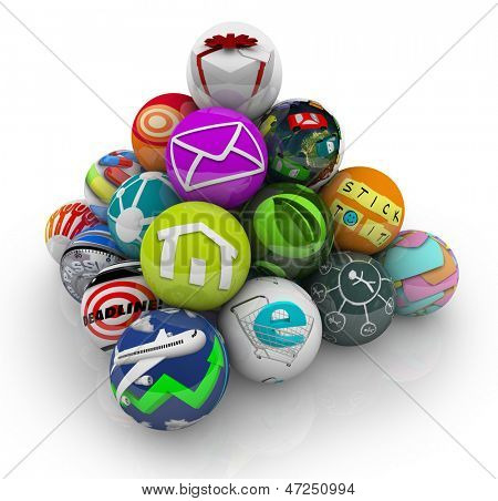 Many mobile apps and software programs illustrated by spheres in a pyramid shape to symbolize an app store marketplace for downloading games and utilities to your smart phone or tablet computer