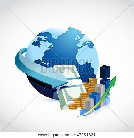 Globe And Money Illustration Design