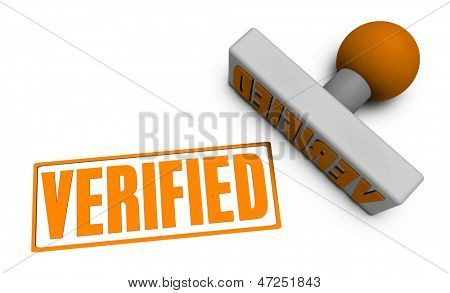 Verified Stamp or Chop on Paper Concept in 3d