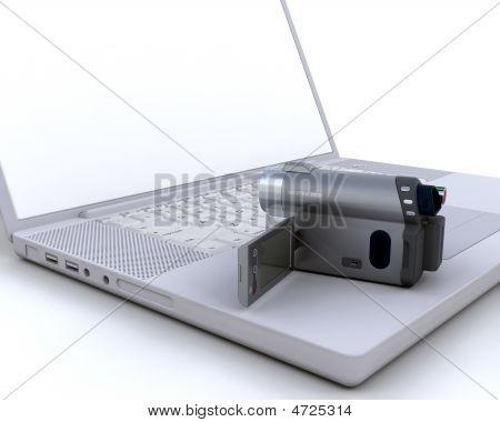 3D Handy Cam Over A Laptop