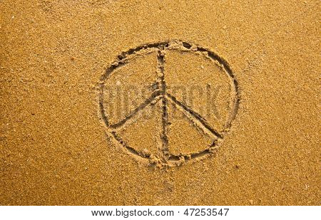 Inscription on in texture of sand: a symbol Pacifik