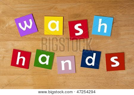 Wash Hands ! - Word Sign For School Children.