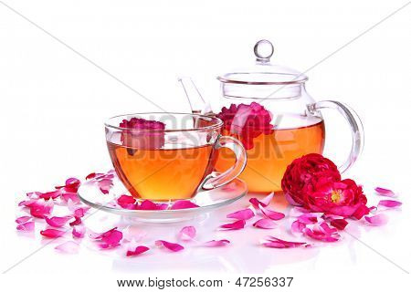 Rose tea isolated on white