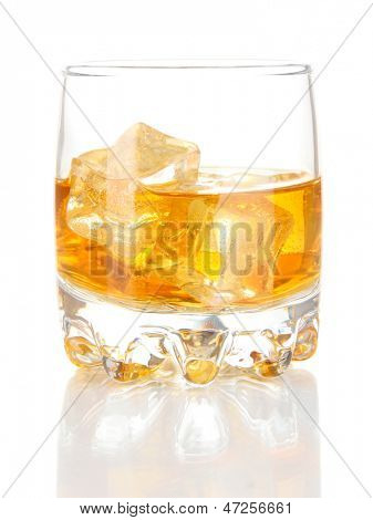 Brandy glass with ice isolated on white