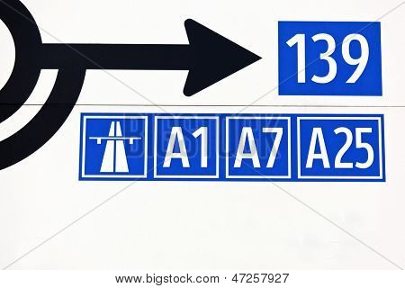 sign on motorways in austria. signposts and road signs