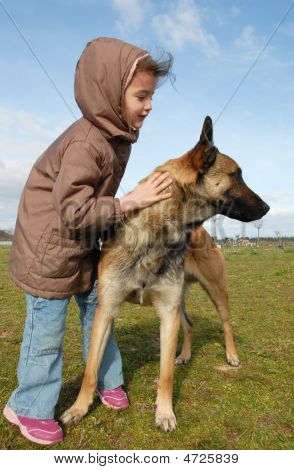 Little Girl And Malinois