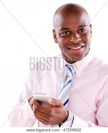 Business man texting on the phone  - isolated over a white background