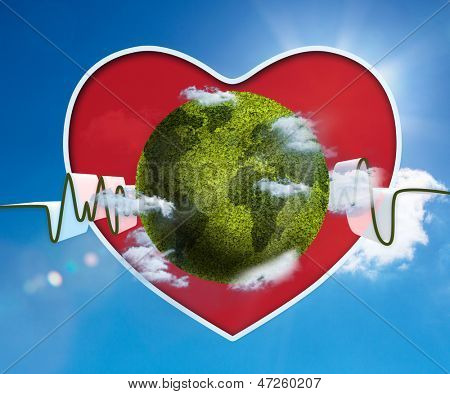 Green and white waveform with green earth and red heart onblue sky background
