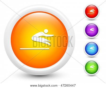 Long Jump Icons on Round Button Collection Original Illustration