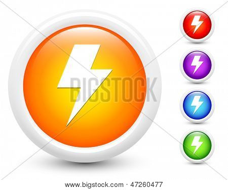 Lightening Icons on Round Button Collection Original Illustration