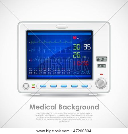 illustration of ECG machine displaying heartbeat