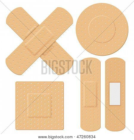 illustration of medical bandage in different shape
