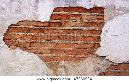 Old Red Brick Wall Disintegrated