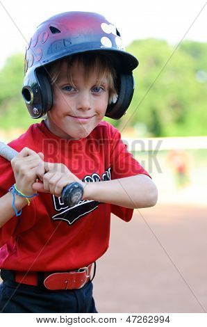 Happy Baseball Boy In Helmet Up Close.